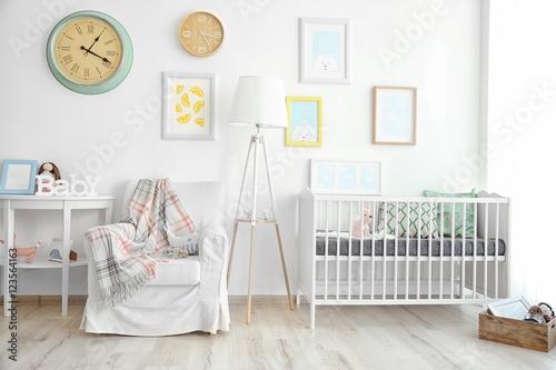 Interior of modern baby room