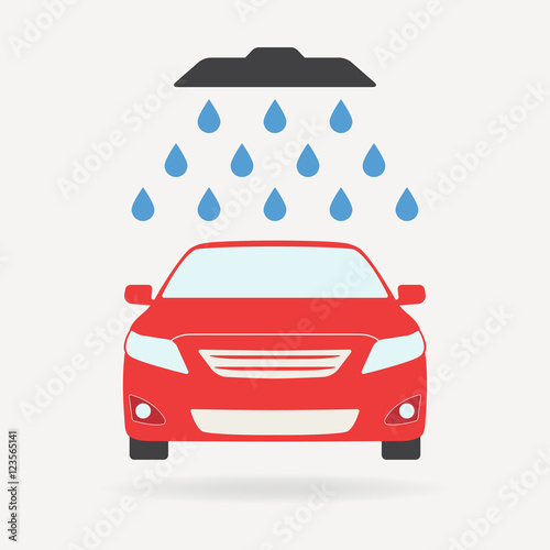 Papiers peints Nautique motorise Car wash icon or sign with shower and water drops. Colorful vector illustration of red vehicle in flat design.
