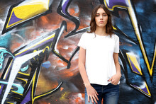 Young Woman In Blank T-shirt A...