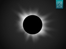 Sun Eclipse Isolated On Transparent Background. Vector