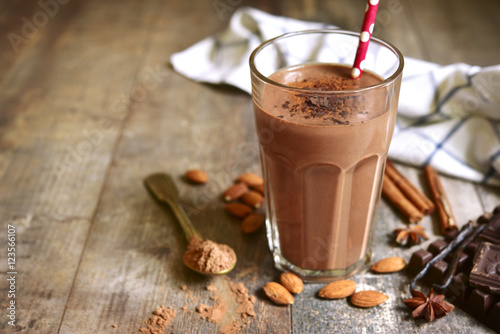 Homemade chocolate banana smoothie in a glass.