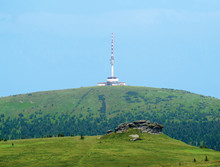 Rock Formation Petrovy Kameny (Peter Stones) And Praded, The Highest Hill Of Moravia (Czech Republic)