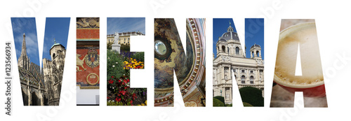 Staande foto Wenen Vienna Austria collage on white