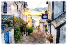 Cobbled Streets At Clovelly On The Devon Coast