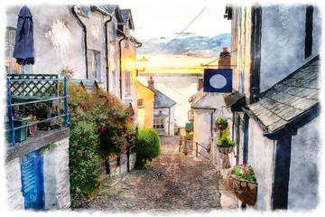 Fototapeta Uliczki Cobbled Streets at Clovelly on the Devon Coast