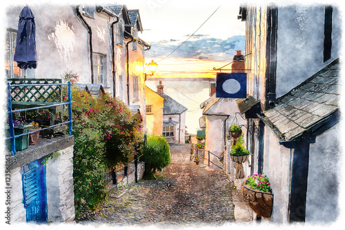 Tuinposter Zwavel geel Cobbled Streets at Clovelly on the Devon Coast