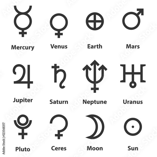zodiac and astrology symbols of the planets buy this
