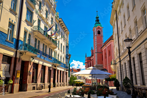 Poster Oost Europa Ljubljana street view with cafe and church