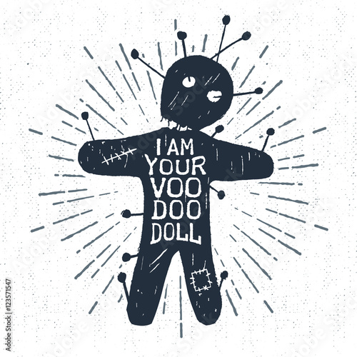 Foto auf Gartenposter Halloween Hand drawn Halloween label with textured voodoo doll vector illustration and