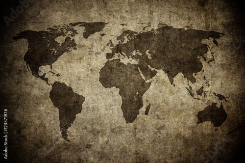 grunge map of the world Canvas Print