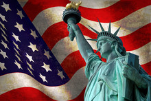 Statue Of Liberty With USA Fla...