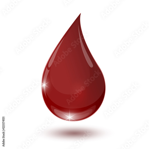Fotografia, Obraz  large glossy red drop of blood isolated