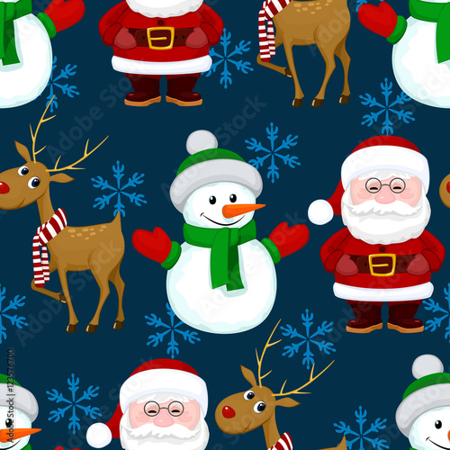 Cotton fabric New Year Christmas seamless pattern