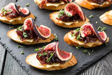 Canape With Cheese, Onion Jam,...