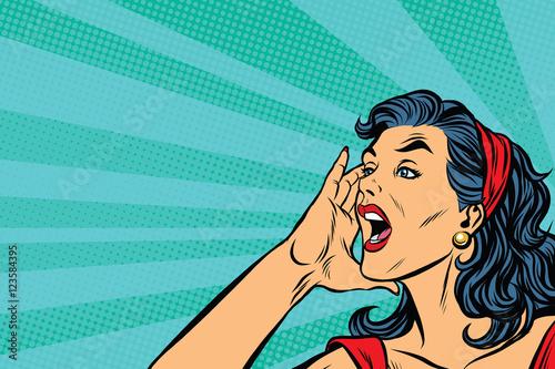 Fotografie, Obraz  Pop art retro girl screams