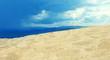 Mediterranean Sea and beach on sunset. Sandy beach and waves. Sea landscape.