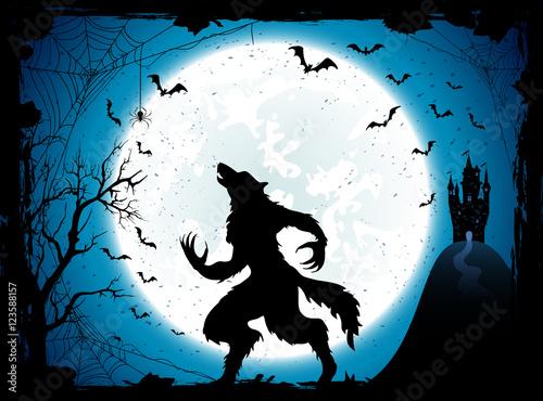 Obraz na płótnie Blue Halloween background with castle and werewolf