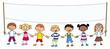 Sieben Kinder mit Banner