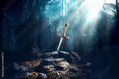 Photo sword in the stone excalibur