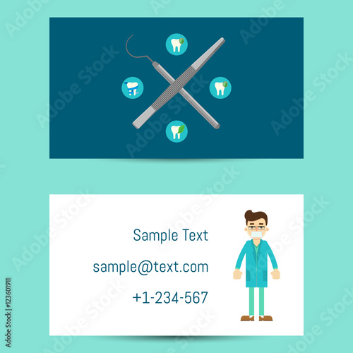 professional business card template for dentists with cartoon man in