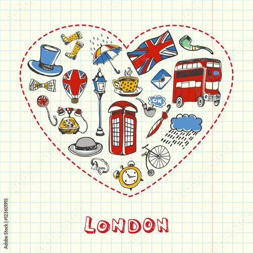 Tuinposter Doodle Love London. Dotted heart filled with colored doodles associated with english capital drawn on squared paper vector illustration. Memories about Europe journey. Sketched with pen British related icons