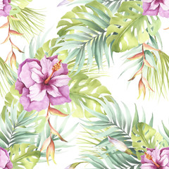 FototapetaSeamless pattern with tropical flowers. Watercolor illustration.