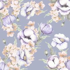 Fototapeta Seamless pattern with anemones. Hand draw watercolor illustration