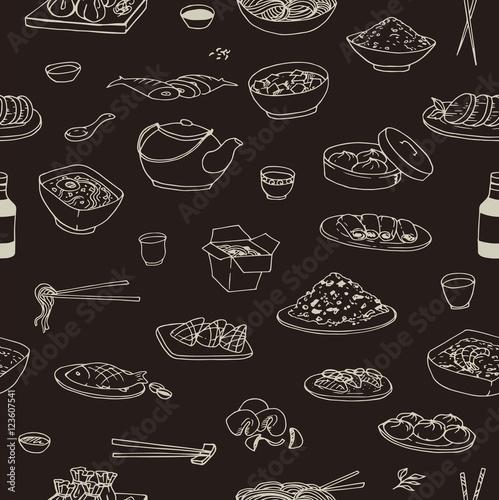 Tapety z jedzeniem i napojami doodle-bezszwowy-czarny-wzor-z-roznym