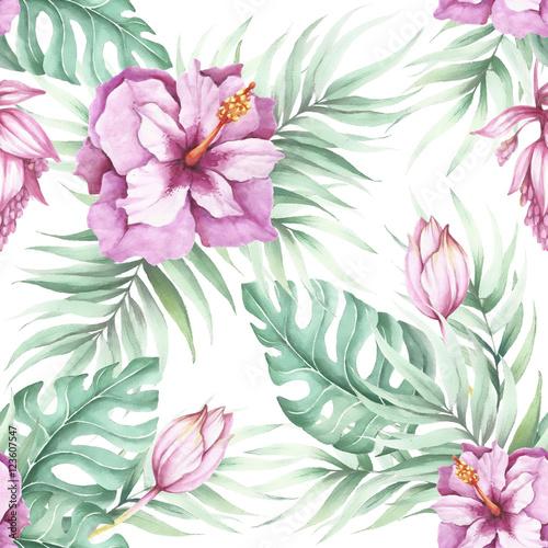 bezszwowy-wzor-z-tropikalnymi-kwiatami-ilustracja-akwarela