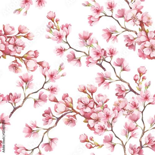 Obrazy wieloczęściowe akwarelowe tło z kwitnącą wiśnią