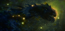 Cosmic Dragon In Space And Stars, Green Cosmic Abstract Background.
