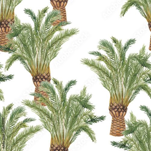 piekna-bezszwowa-akwarela-maluje-kwiecistego-tropikalnego-deseniowego-tlo-z-drzewkiem-palmowym