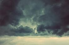 Beautiful Dark Storm Sky With Sun Rays.