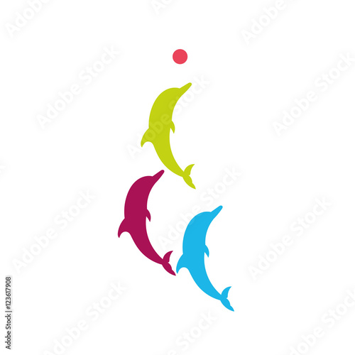 Fotografiet  Dolphin. Vector silhouette on a white background.