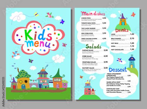 Cute Colorful Meal Kids Menu Template Vector Illustration Buy