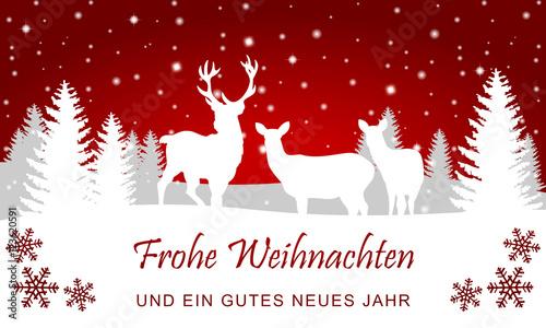 Foto-Doppelrollo - Weihnachtliche Landschaft mit Rentieren (Rot) (von ii-graphics)