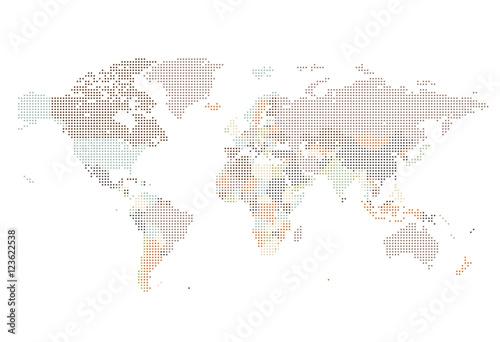Obraz na plátně Dotted World map of square dots