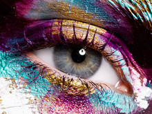Beauty, Cosmetics And Makeup. Magic Eyes Look With Bright Creative Make-up. Macro Shot Of Beautiful Woman's Face With Perfect Art Make Up. Closeup Of Female Eye. Body Art