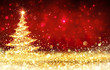 canvas print picture - Shining Christmas Tree - Golden Glitter sparkling In The Red Background