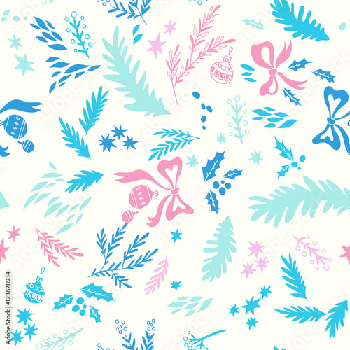 Cotton fabric Happy New Year texture. Vector seamless pattern with Christmas symbols. Hand drawn illustration with floral elements and christmas balls. Doodle style