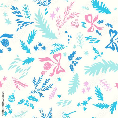 Stoffe zum Nähen Happy New Year-Textur. Vektor Musterdesign mit Weihnachten Symbole. Handgezeichnete Illustrationen mit floralen Elementen und Weihnachtskugeln. Doodle-Stil