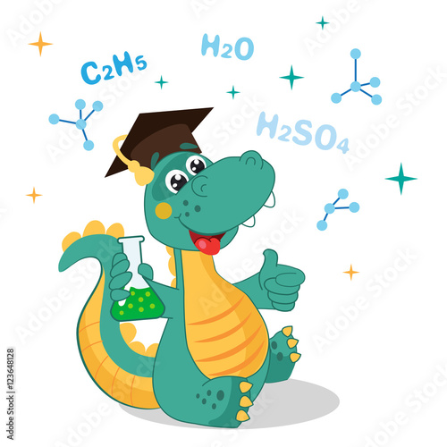 smieszne-dinozaur-eksperymentowanie-z-substancji-chemicznych-i-formuly-na-bialym-tle-ilustracje-wektorowe-kreskowka