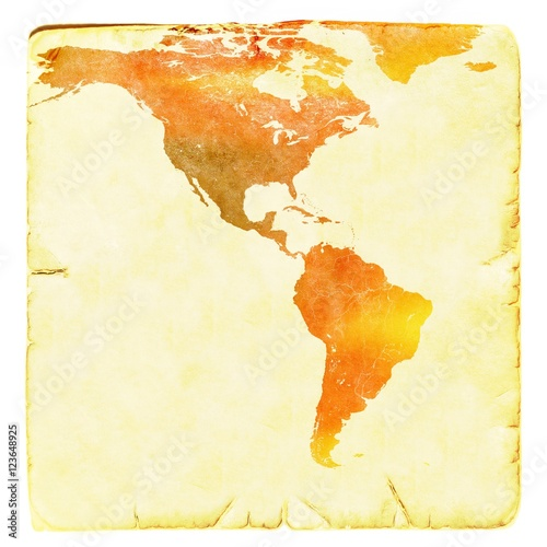 World map in red and yellow tones. USA and Latin America. Ancient ...