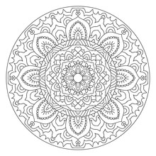 Round Outline Mandala For Coloring Book.