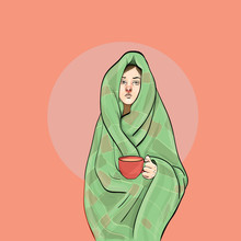 Girl Wrapped In A Blanket Vector Image