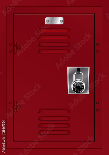Fototapeta Red Locker and Combination Lock Illustration