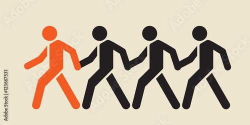 followers:  obedient crowd blindly following trusted leader . Tapéta, Fotótapéta
