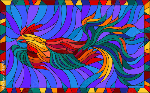 Illustration in stained glass style with abstract flying rooster