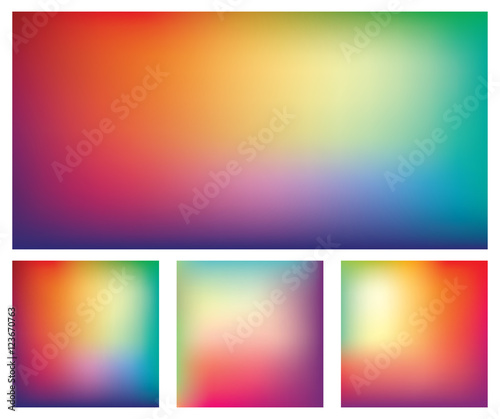 Set of blurred gradient mesh backgrounds in bright rainbow colors Canvas Print