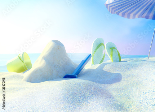 beach scene with bucket and spade against ocean background buy
